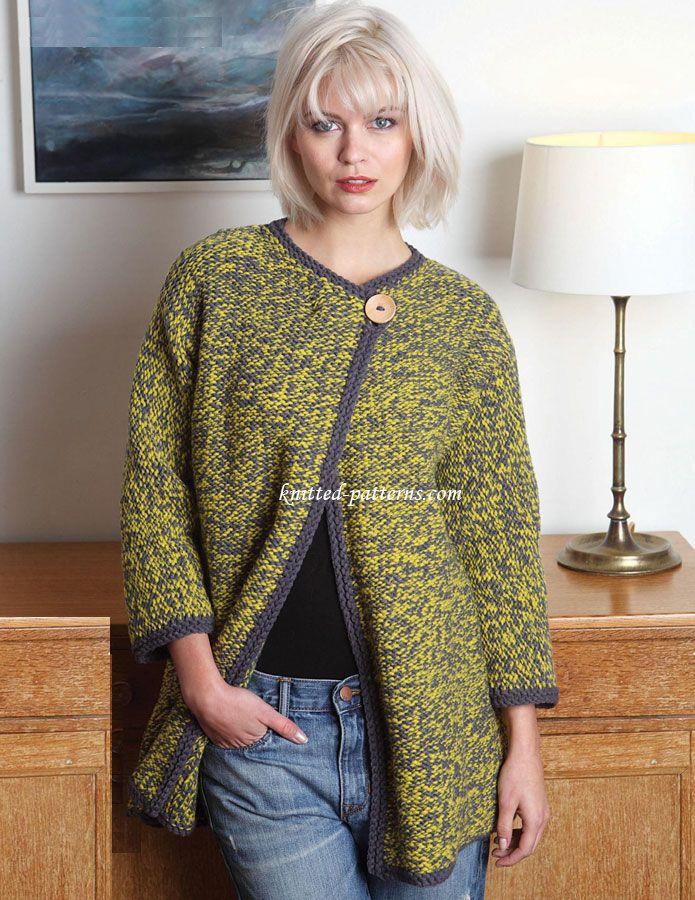 Chunky coat - free knit patterns | пальто кардиган в жакеты ...