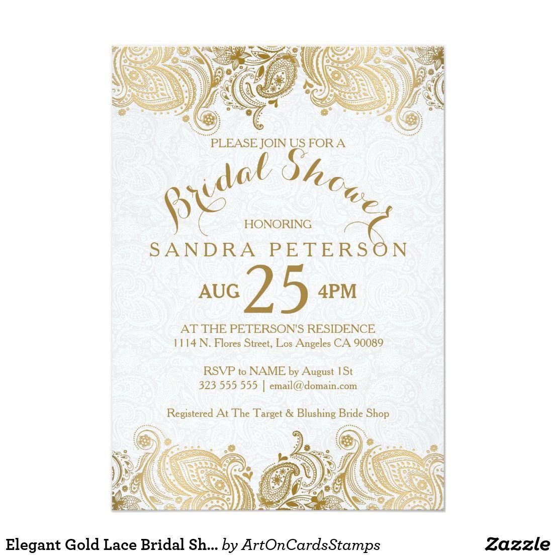 Elegant Gold Lace Bridal Shower Invitation  Zazzle.com  Bridal