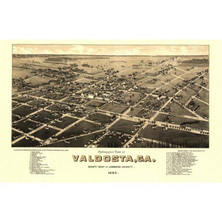 Vintage Map of Valdosta Georgia 1885 Lowndes County Canvas Art - (24 x 36)