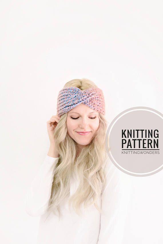 Knitting Pattern Turban Headband Ear Warmer Easy Knit Pattern