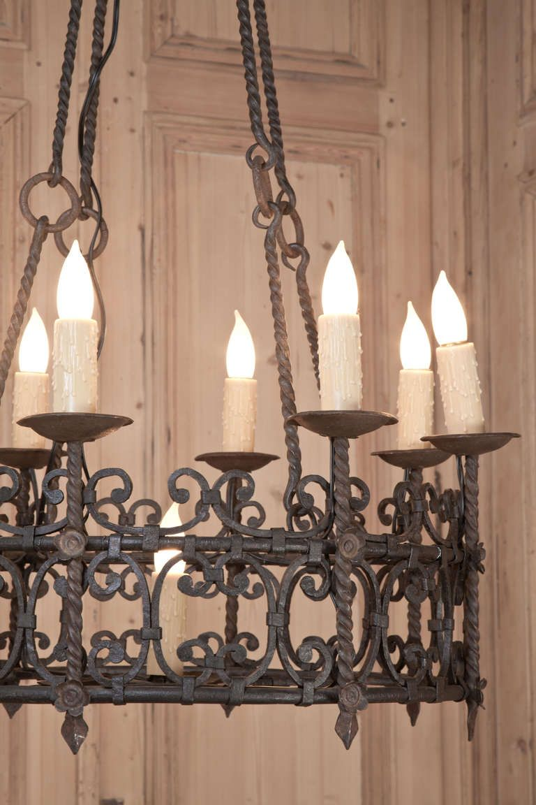 Vintage Country French Wrought Iron Chandelier Vintage