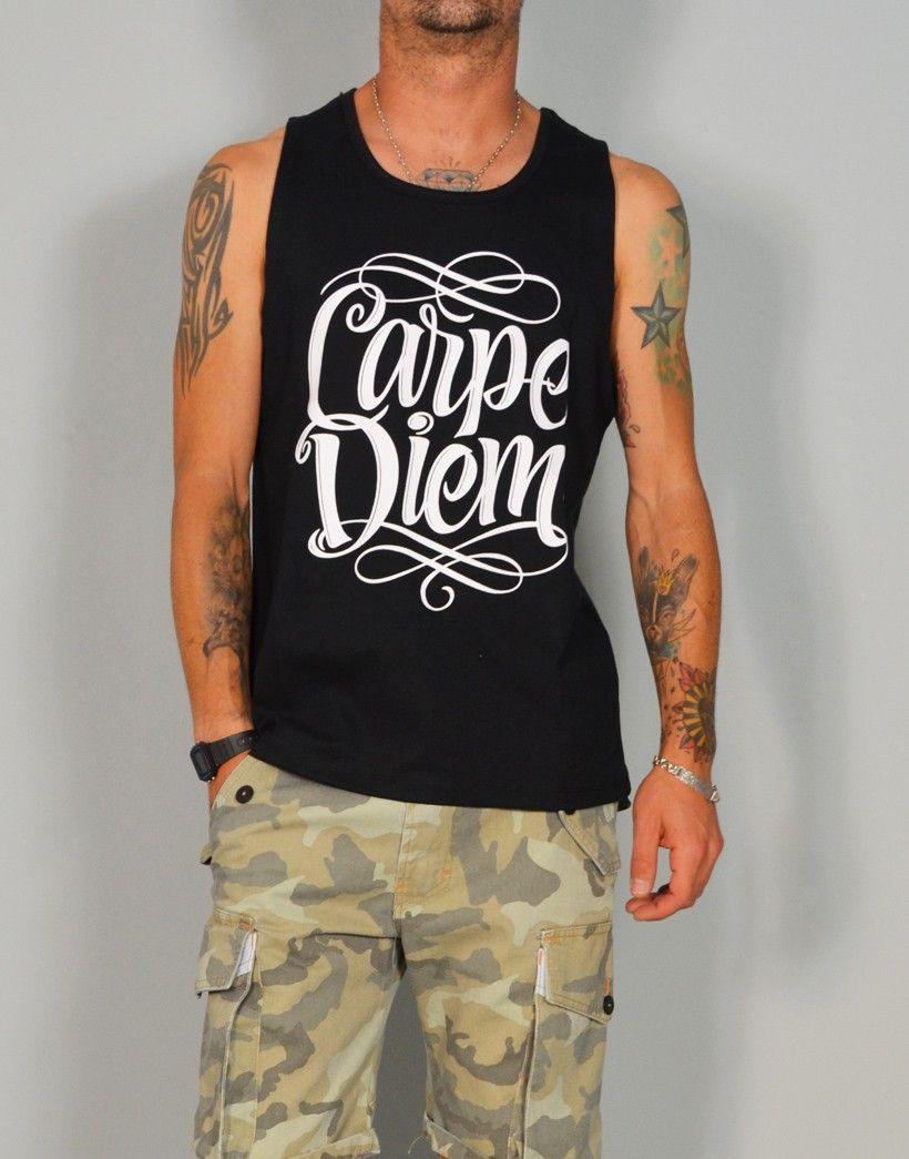 Camiseta de tirantes de algodón con estampado Carpe Diem http://www.tiendas13.com/hombre-camisetas/1299-camiseta-de-tirantes-con-estampado-carpe-diem-de-chicomalo.html