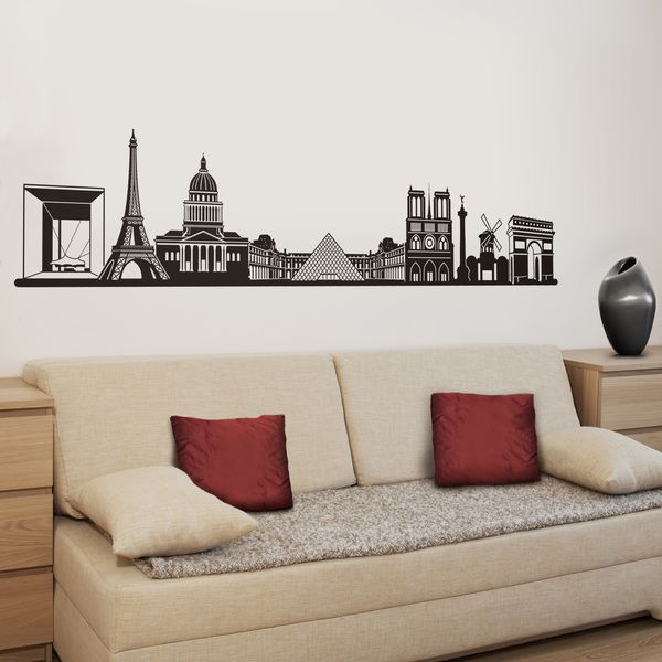 vinilos decorativos skyline de pars pars ciudad decoracin pared