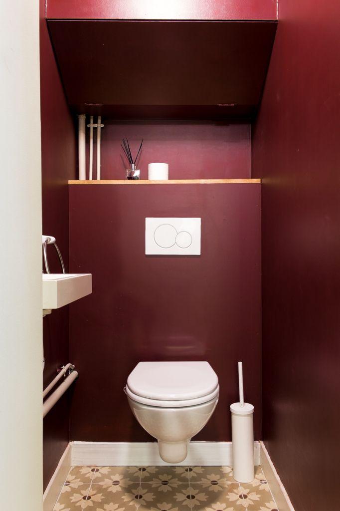 wc, carreaux ciments, peinture, bordeaux, décoration, rénovation ...