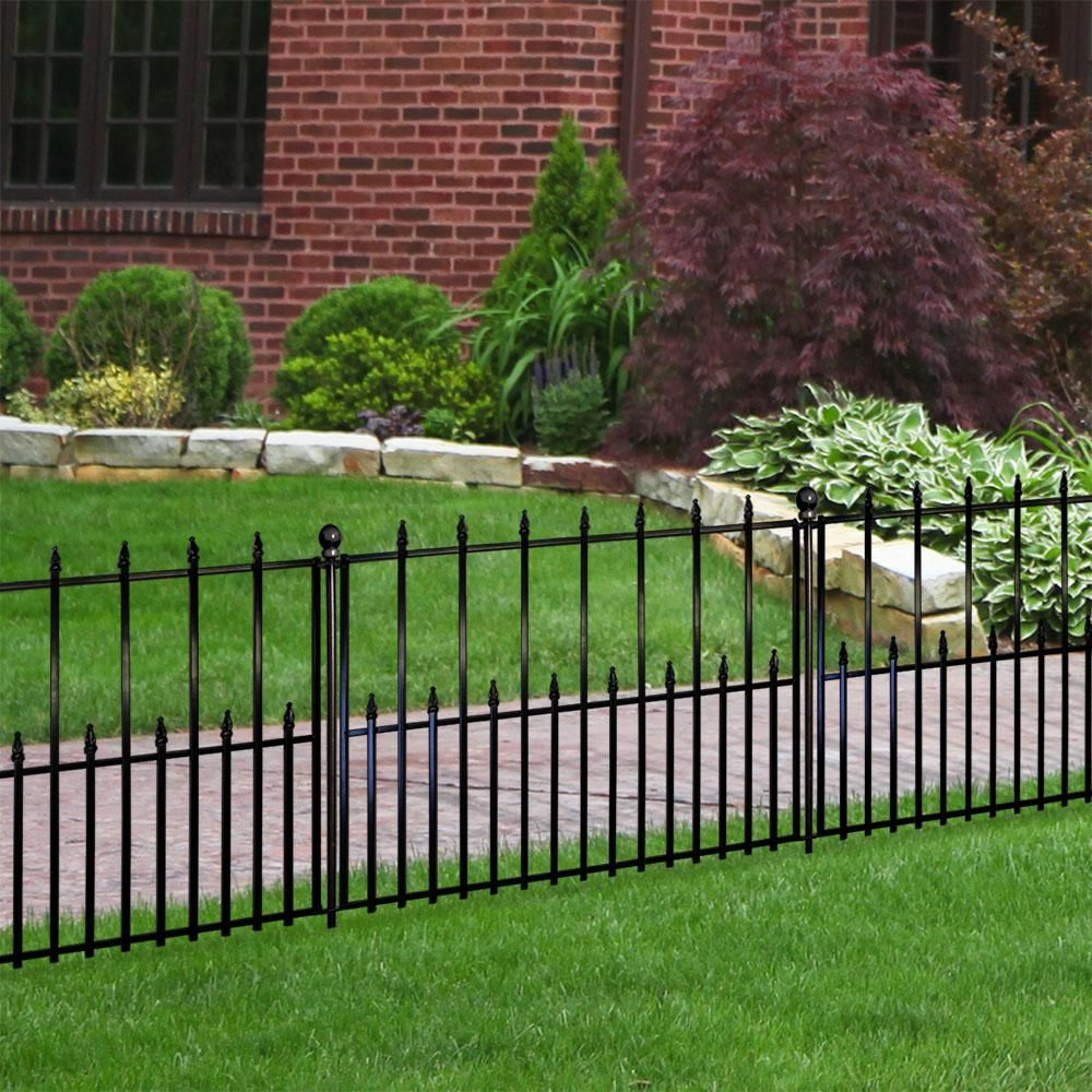 Empire 30 In X 36 In Black Steel 3 Rail Fence Panel 860190 With