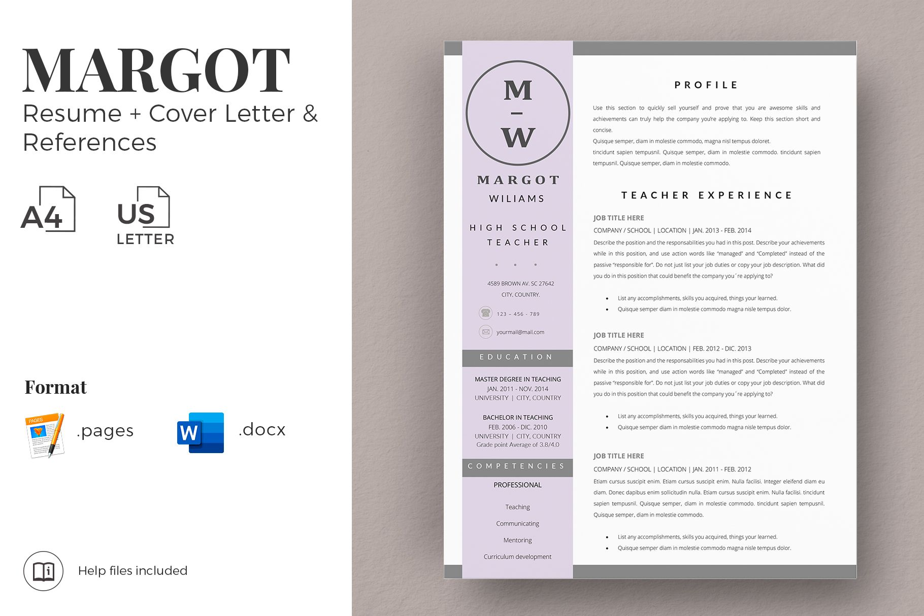 Creative Resume Templates For Ms Word And Mac Pages Professional Resume Templates And Ma Teacher Resume Template Teacher Resume Modern Teacher Resume Template