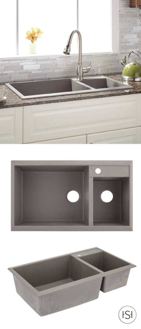 34 Arvel 70 30 Offset Double Bowl Drop In Granite Composite Sink Gray