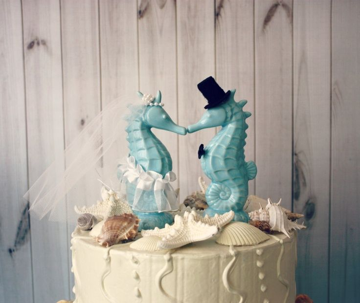 Love These Bahama Blue Seahorse Kissing Wedding Cake Topper Beach Themed  Wedding Cake Topper Each Measures Tall (back Yard Reception)