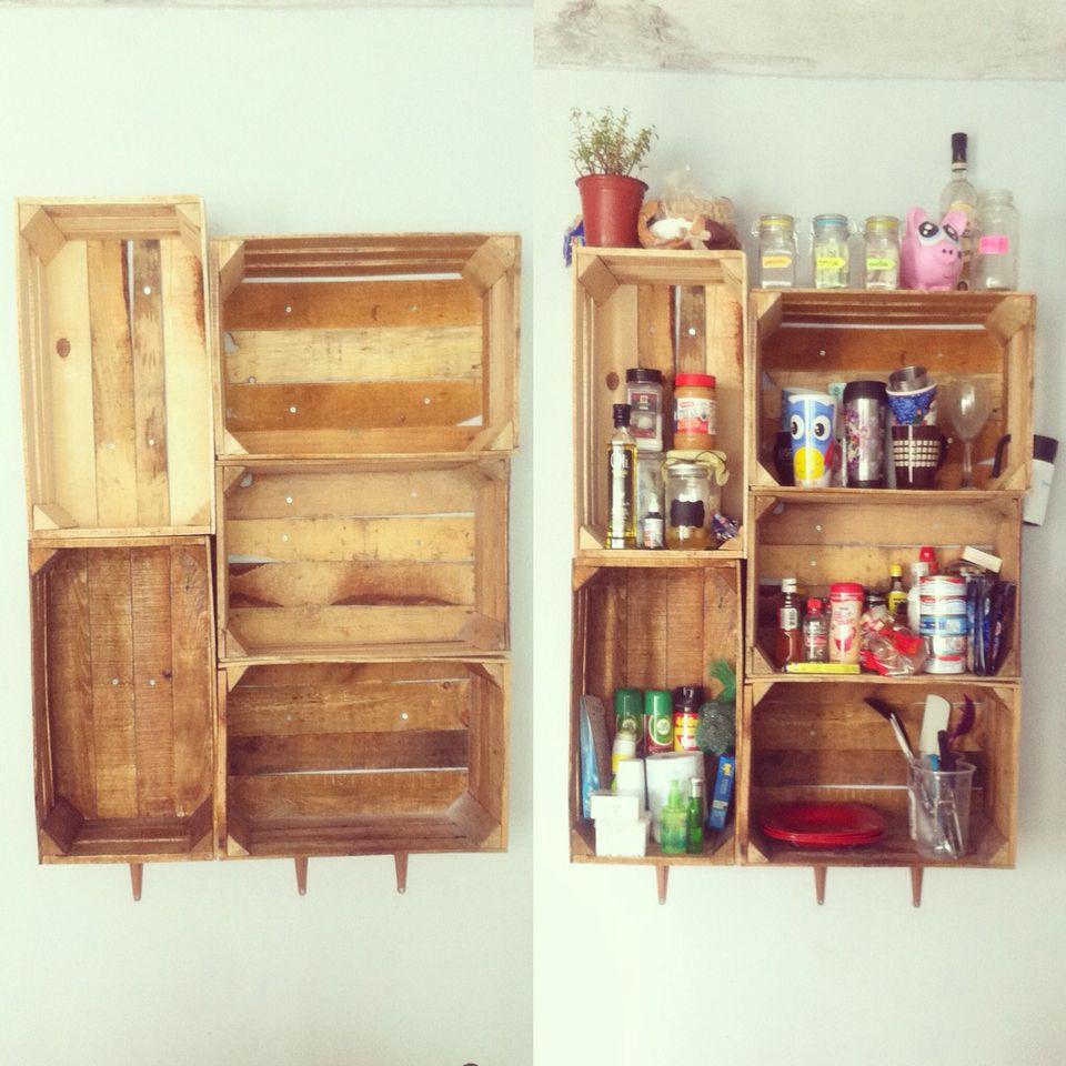 Alacena Con Cajas Recicladas Alacenas De Cocina Estantes Para