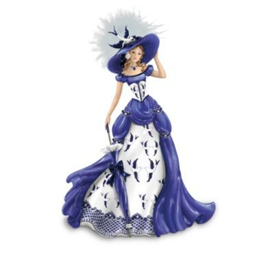 The Blue Willow China Pattern-Inspired Lady Figurine Collection