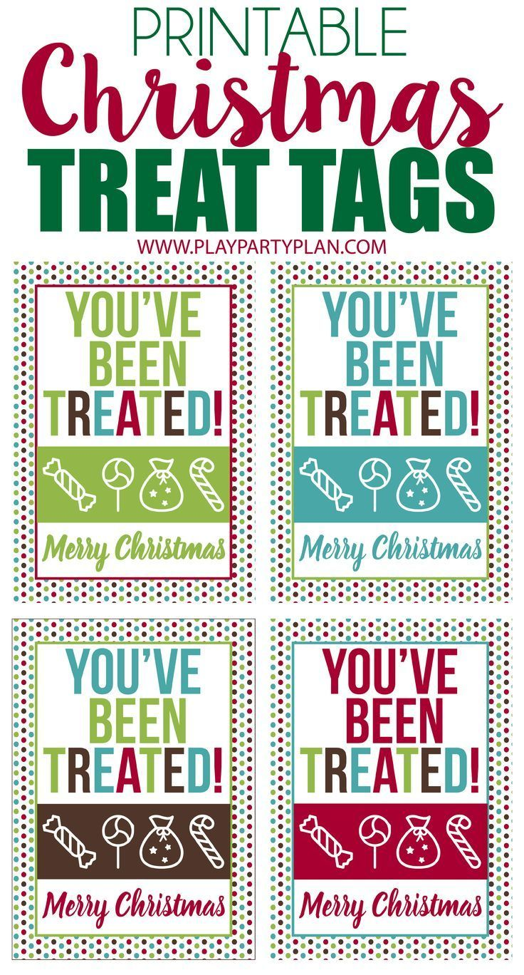 These free printable Christmas treat tags are perfect to