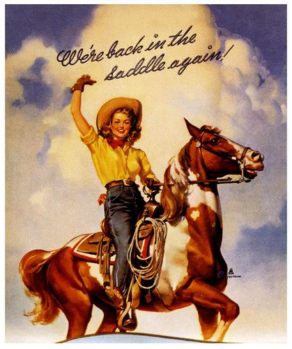 We're Back In The Saddle Again! | Cowgirl art, Cowboy art, Western art
