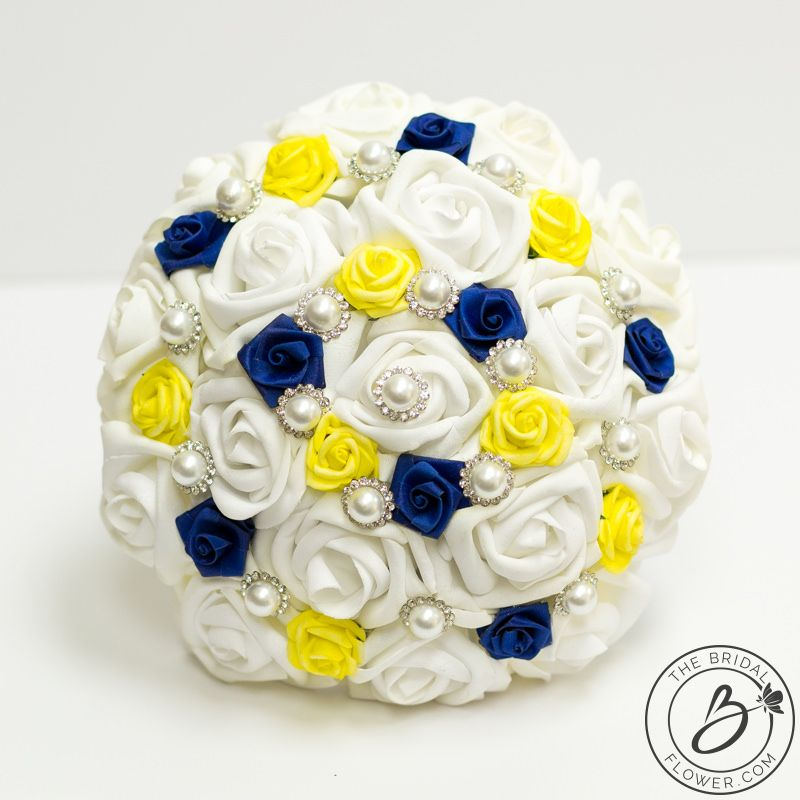 Royal Blue And Yellow Beauty And The Beast Themed Bouquet