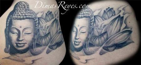 Dimas Reyes Black And Grey Buddha With Lotus Flower Tattoo
