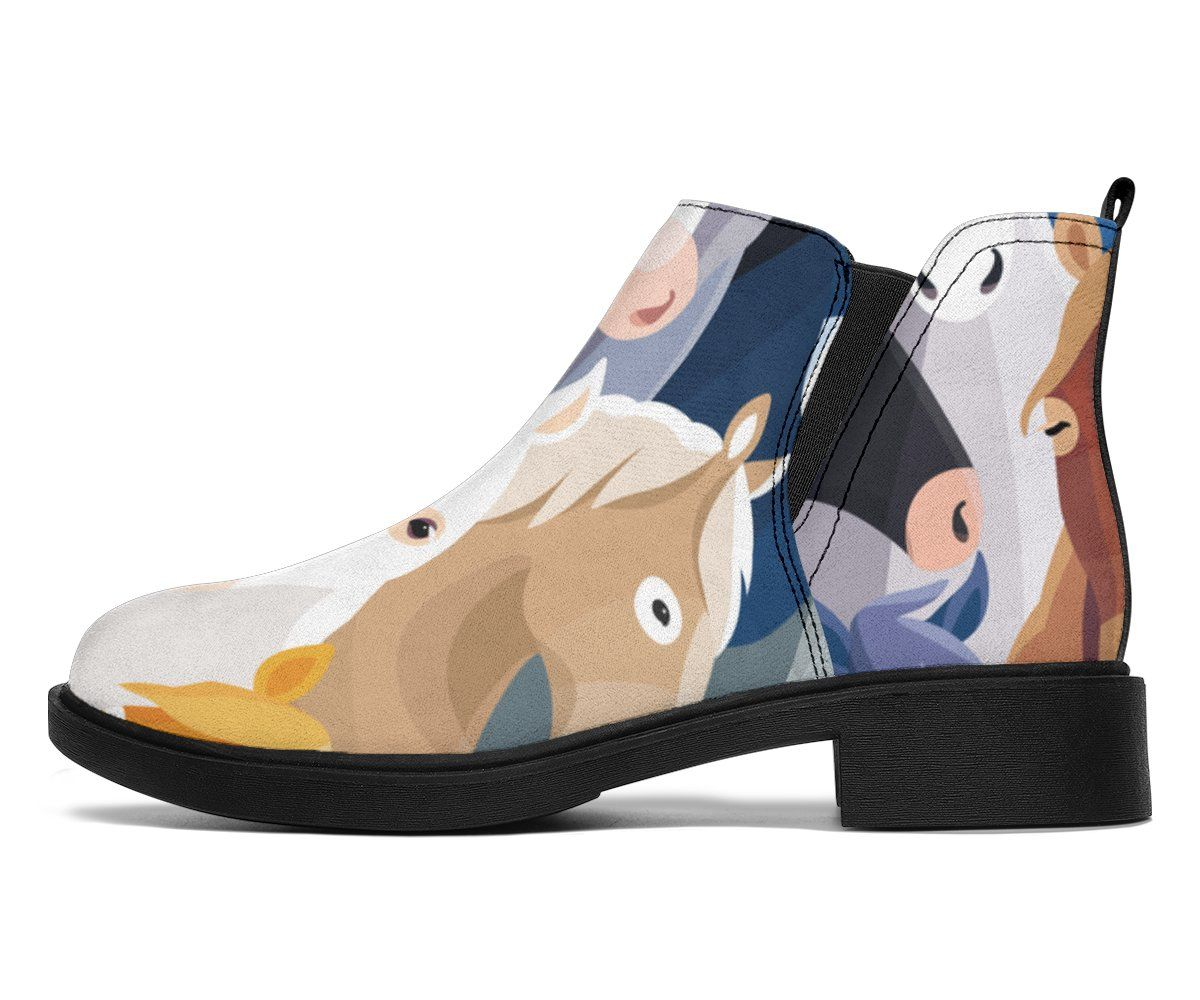 Colorful Horse Pattern Ankle Boots #horsepattern