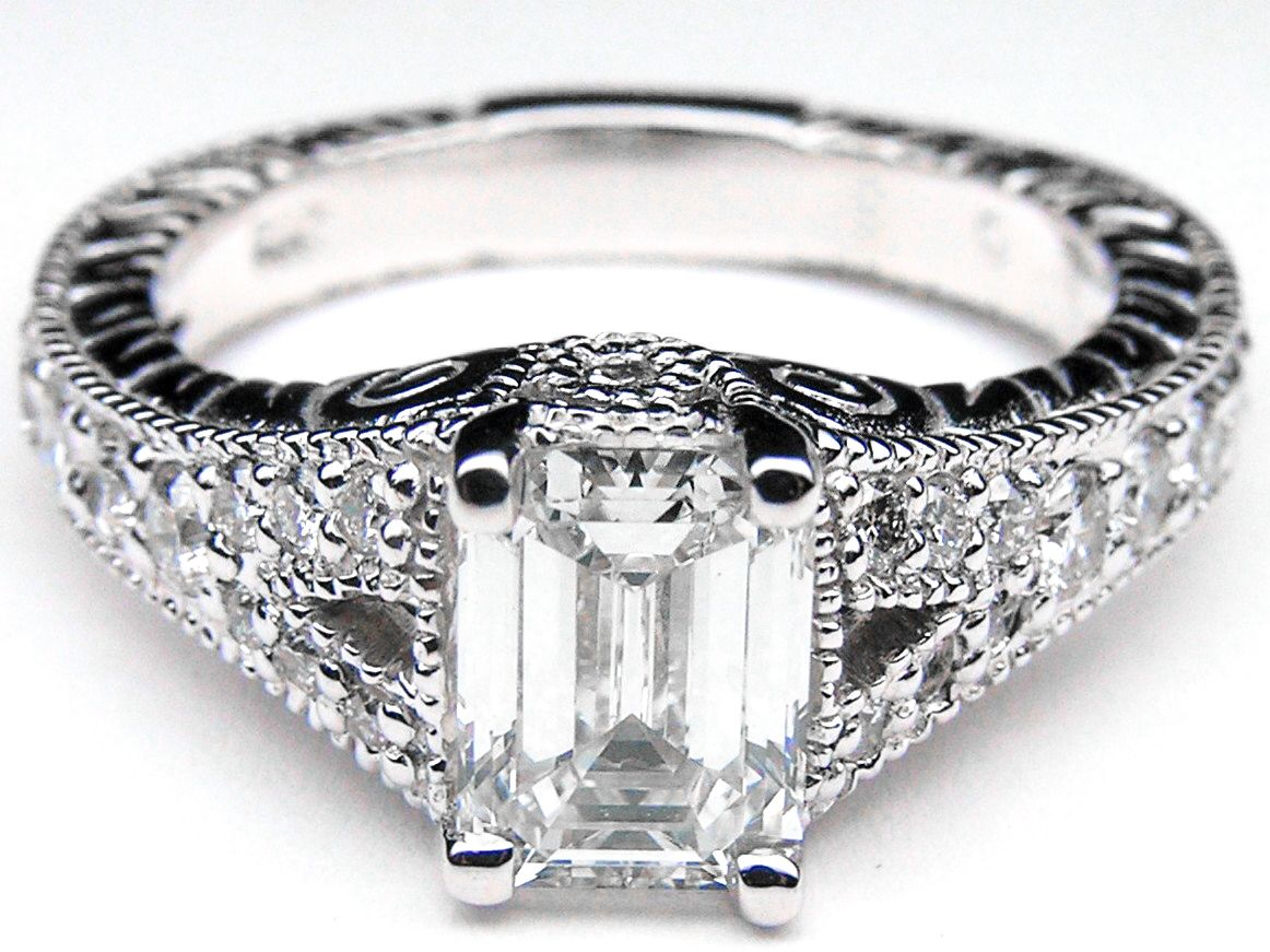 Perfection vintage style emerald cut diamond engagement ring pave
