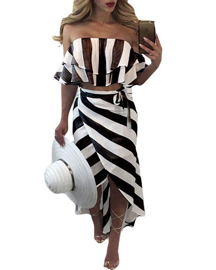 Shoppen Sie Damen Elegant Bandeau Bustier Kleider Streifen Lange ...