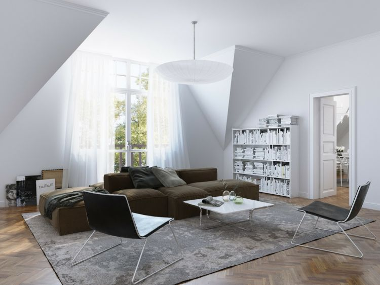 Monochrome Wohnzimmer Einrichtung mit brauner Couch Living - wohnzimmer ideen braune couch