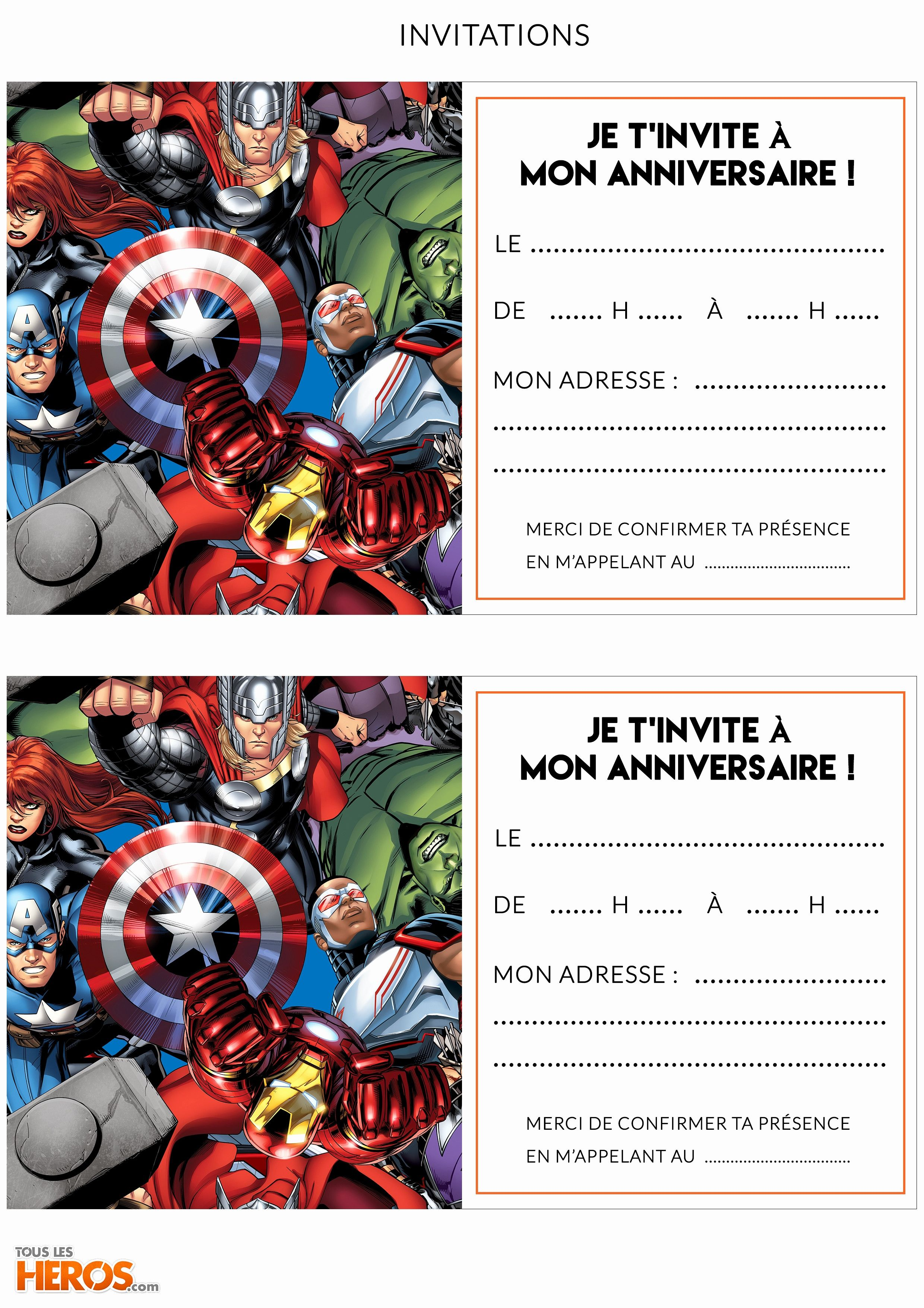 carte anniversaire avengers a imprimer