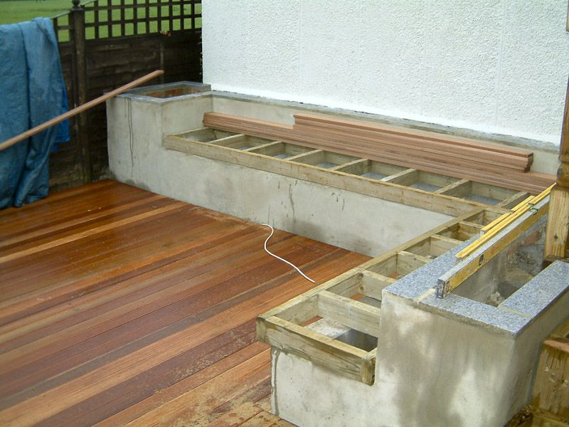 We then added the hardwood decking leaving cables showing for Garden design decking areas