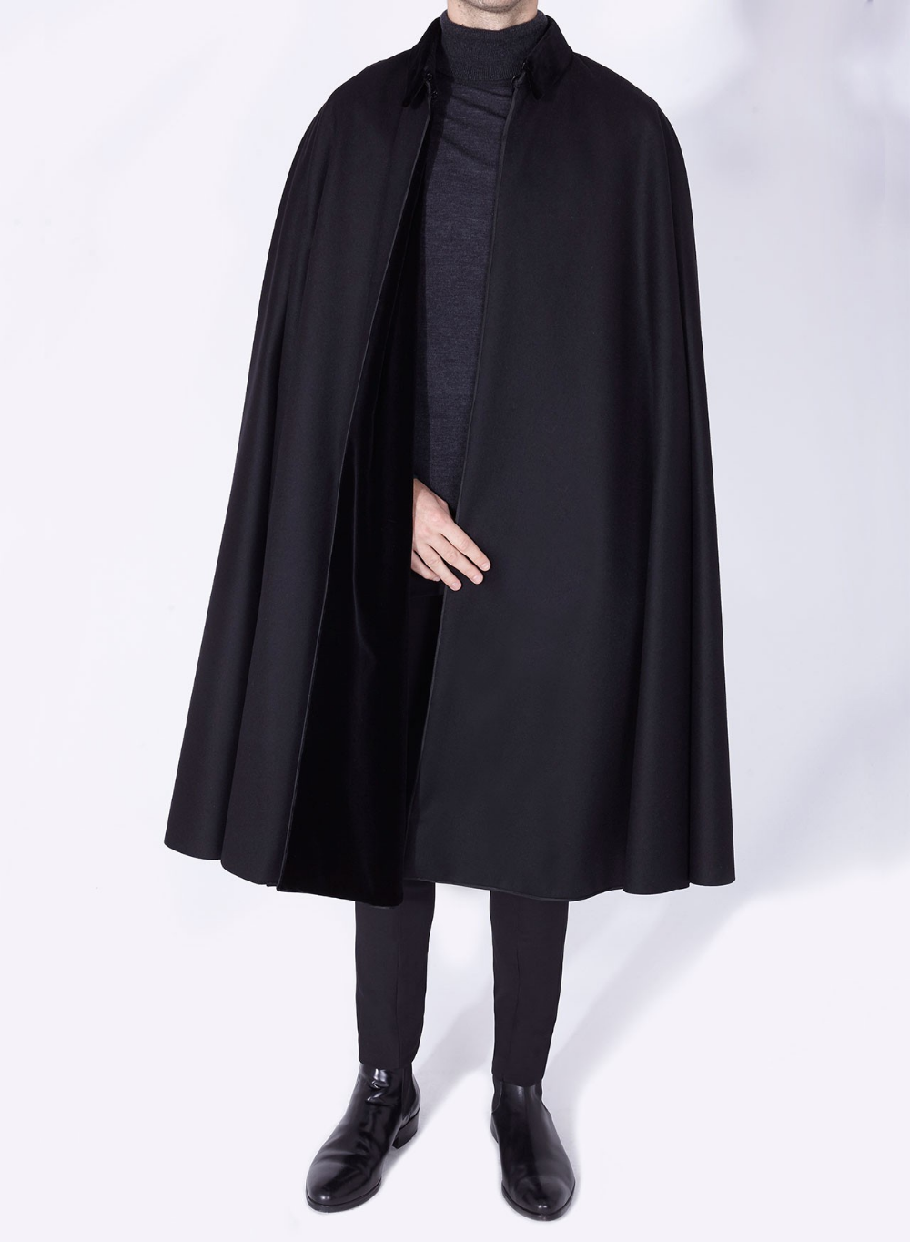 Alfonso Cloak Black Sesena Capes 1901 Cape Fashion Coat Fashion Black Collared Shirt