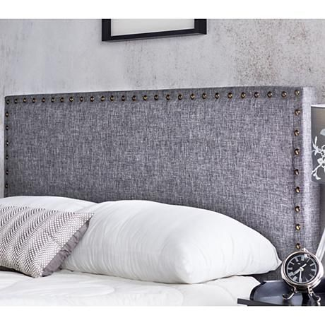 Brande Gray Full Queen Upholstered Headboard 7x677 Lamps Plus Camas Cabeceras Almohadones