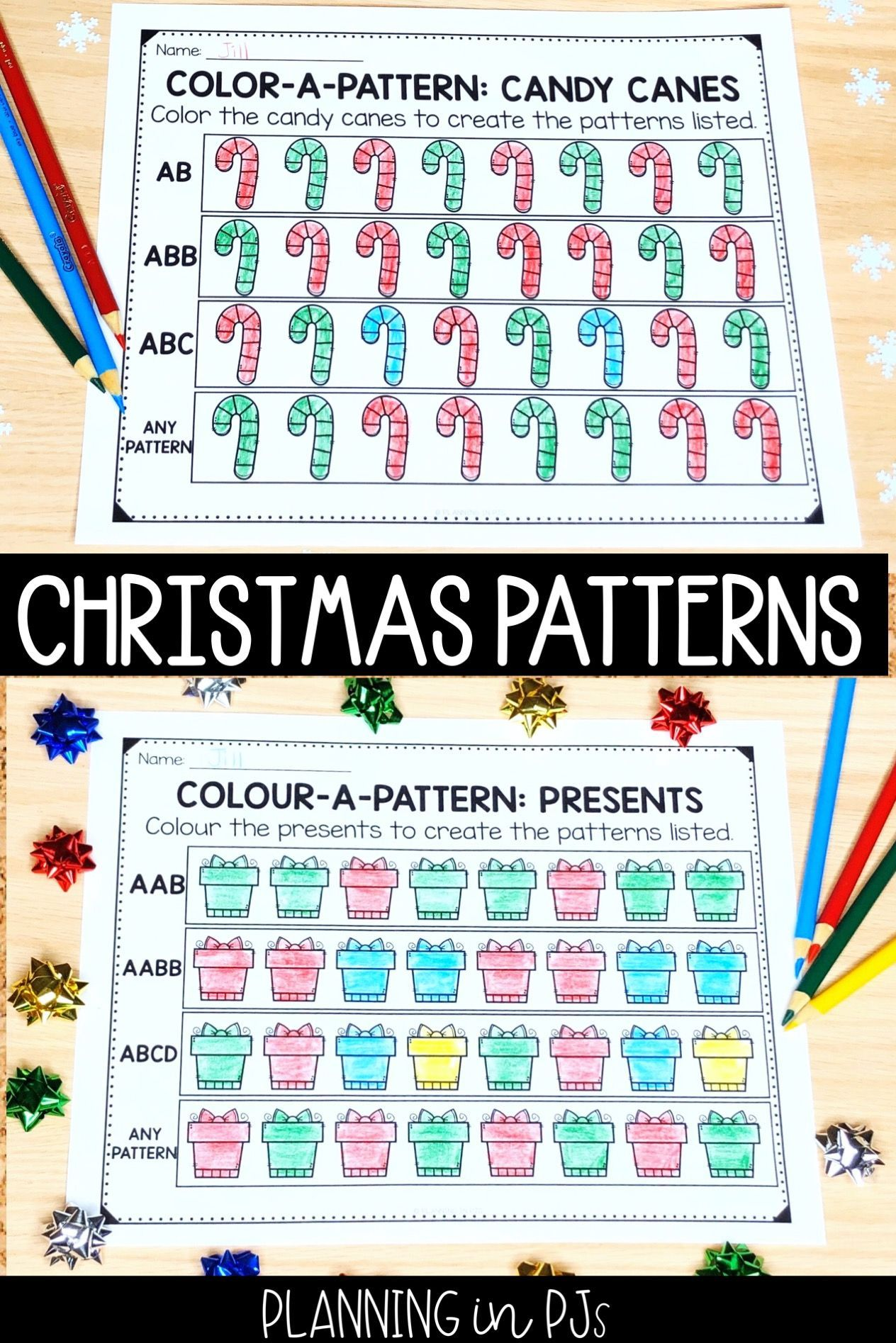 Christmas Color A Pattern Pattern Activities Aab Patterns Christmas Images To Color [ 1895 x 1264 Pixel ]