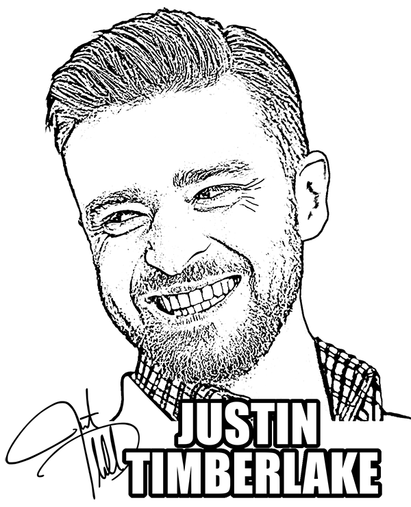 Coloring page with Justin Timberlake. To print or download on ...