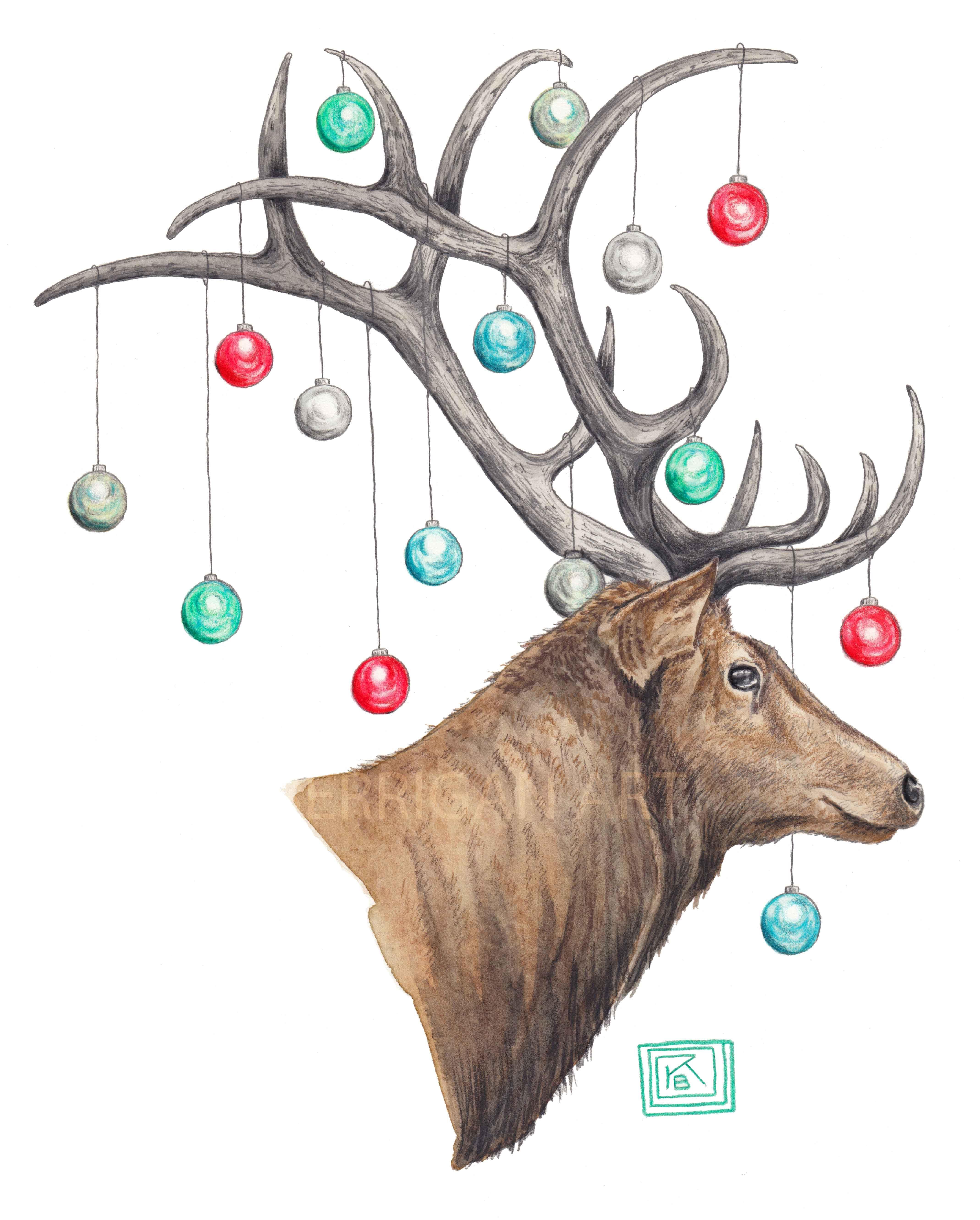 Watercolor Christmas Elk / Watercolor And Colored Pencil