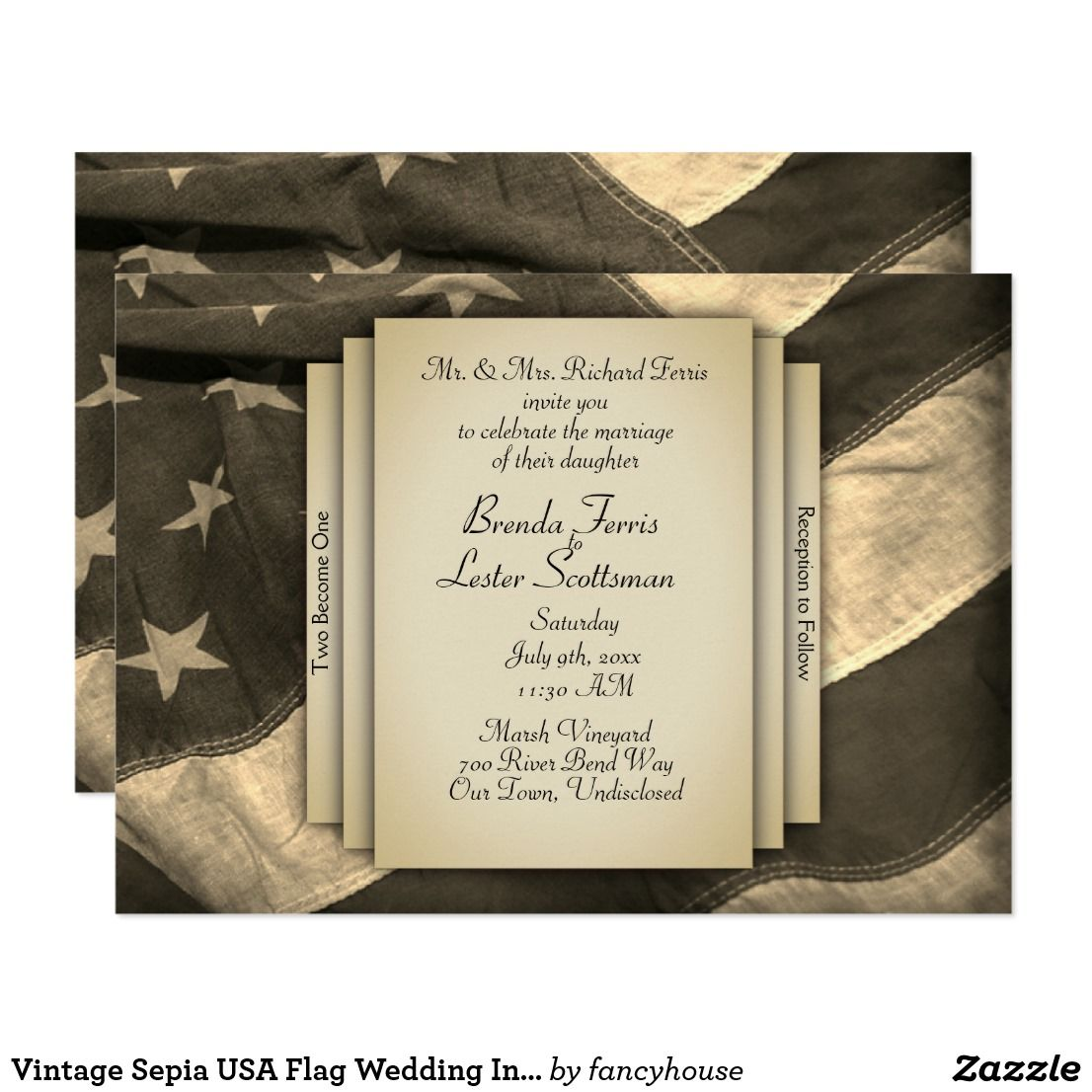 Vintage Sepia USA Flag Wedding Invitation | Usa flag, Bridal gowns ...