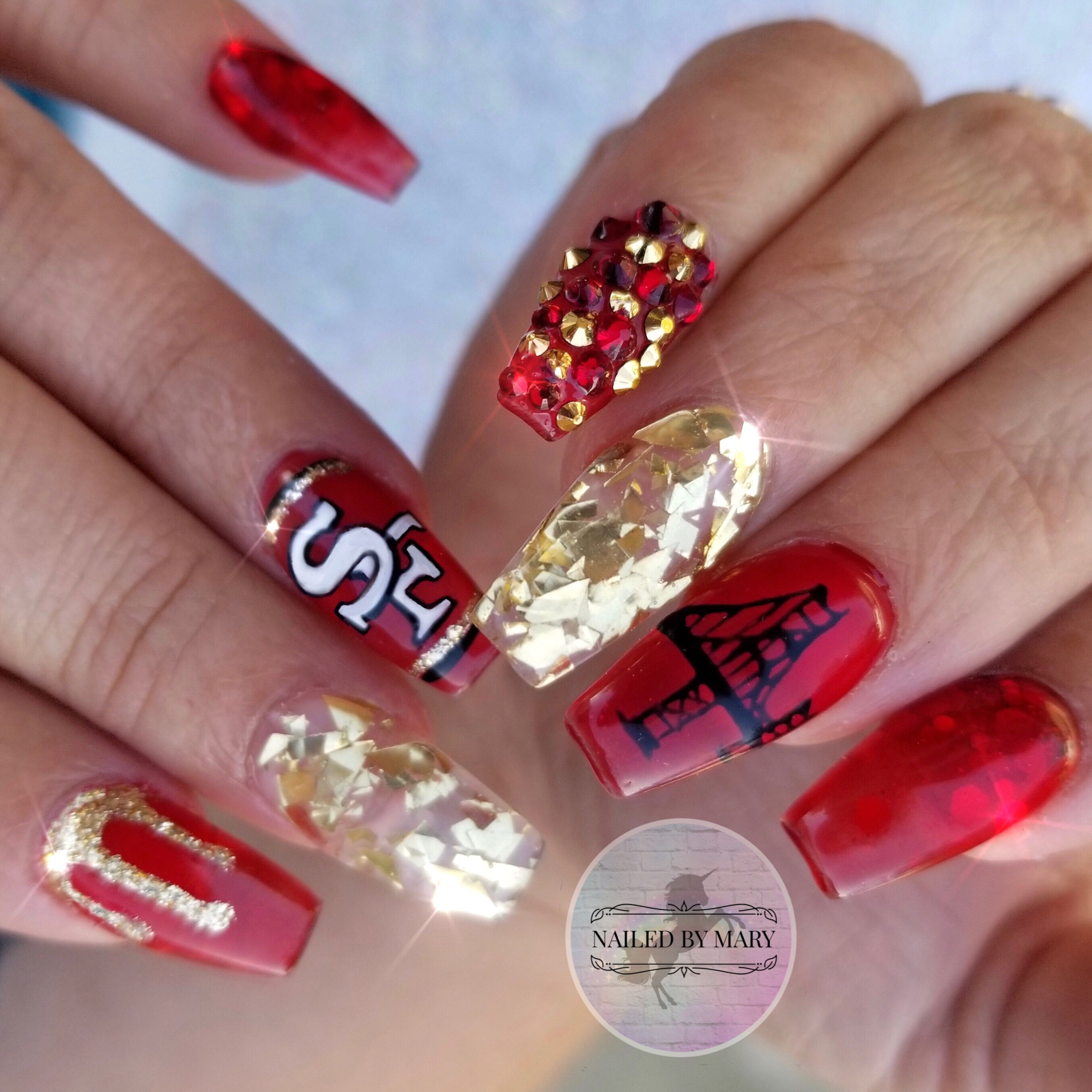 San Francisco S 49ers Nails Golden Gate Bridge Red And Gold Jelly Glitter Football Team The Bay Swarovski Crystals Frisco 49ers Nails Nails Red And Gold Nails