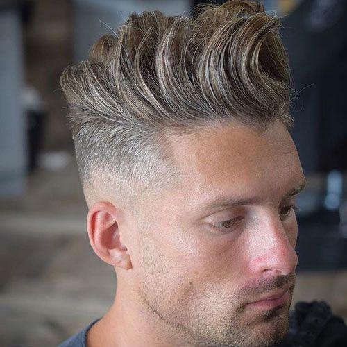 Low Skin Fade With Long Textured Quiff Long Hair Styles Long Hair Styles Men Widows Peak Hairstyles