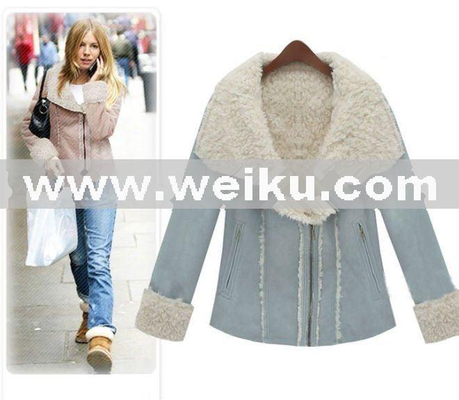 ae82e5375983 Women s ladie s Suede Sheep Wool fur lining jacket Turn-down Collar winter  hot fashion short fur coat