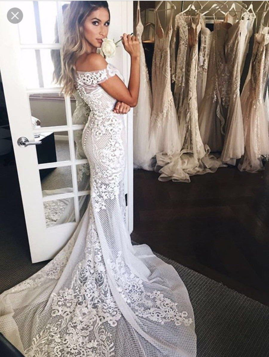 Off the shoulder tea length wedding dress  SheathColumn Wedding Dresses Offtheshoulder SweepBrush Train