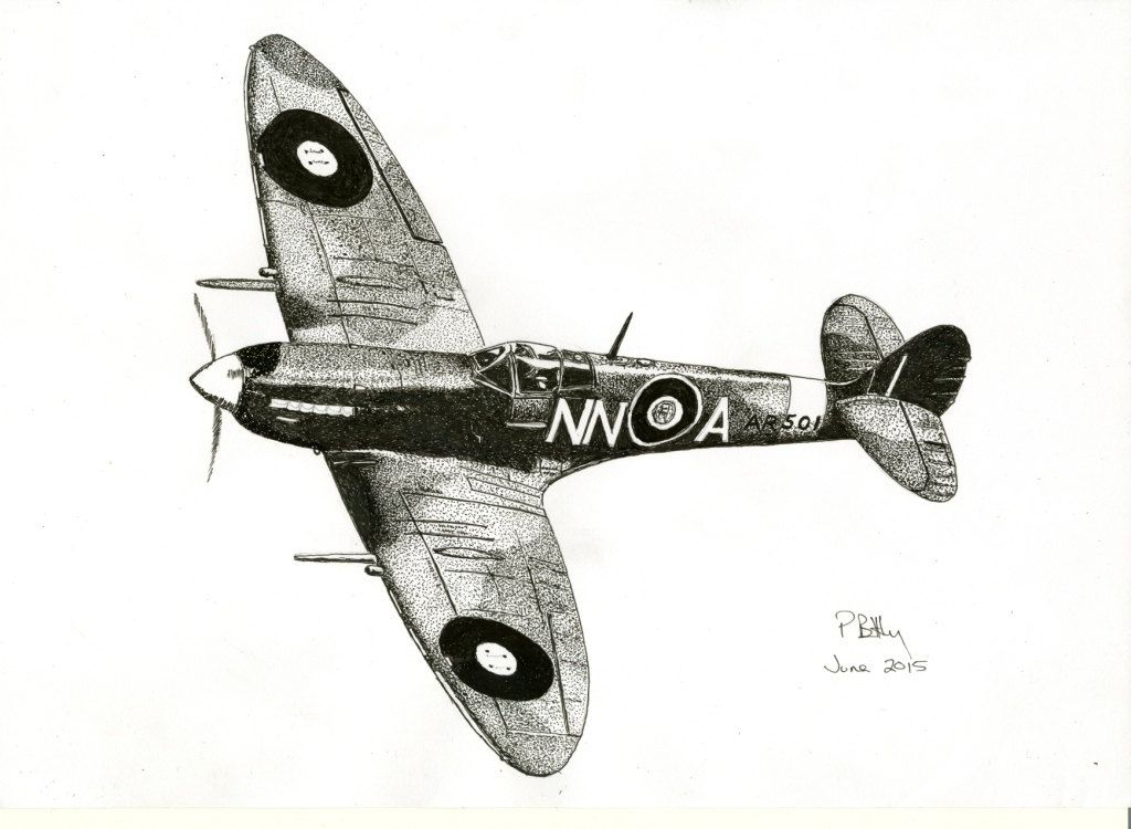 Pen Ink Drawing A4 Spitfire Ink Pen Drawings Aircraft Tattoo Plane Drawing