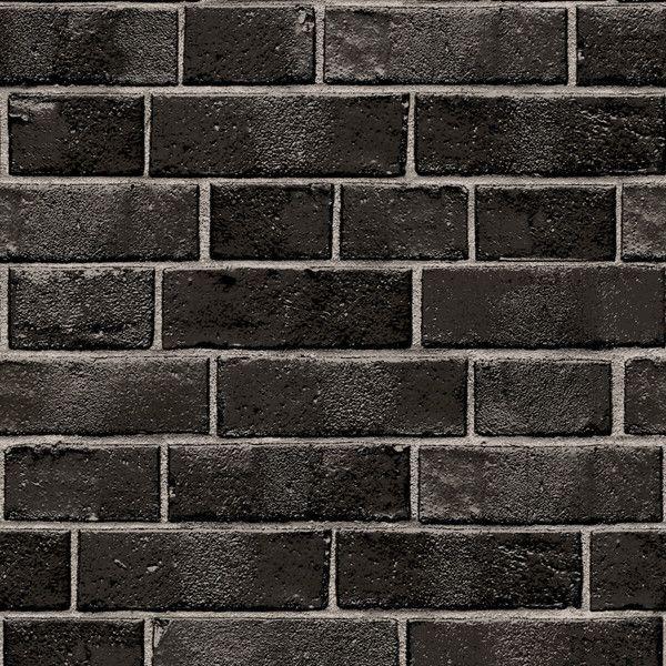 Textured Brick Self Adhesive Wallpaper In Ebony Design By Tempaper 460 Ils Liked O Black Brick Wallpaper Textured Brick Wallpaper Brick Temporary Wallpaper