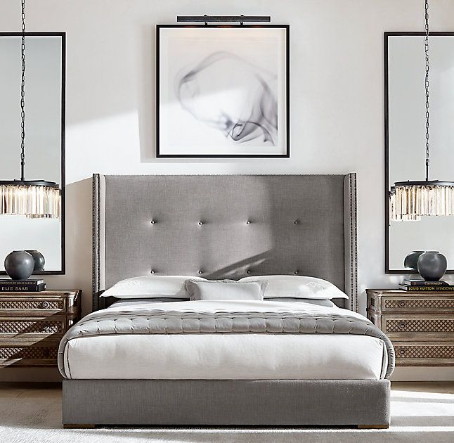 Tompkins Shelter Box-tufted Fabric Platform Bed With Nailheads ...