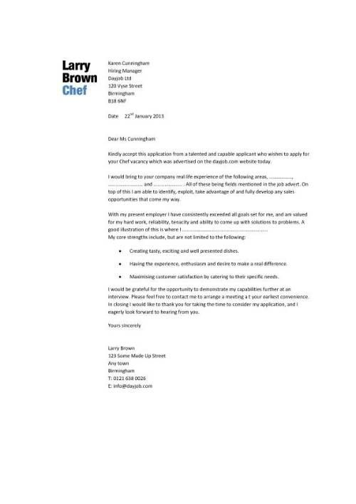 Cover Letter For Pastry Chef Job Free Letter Sample Download