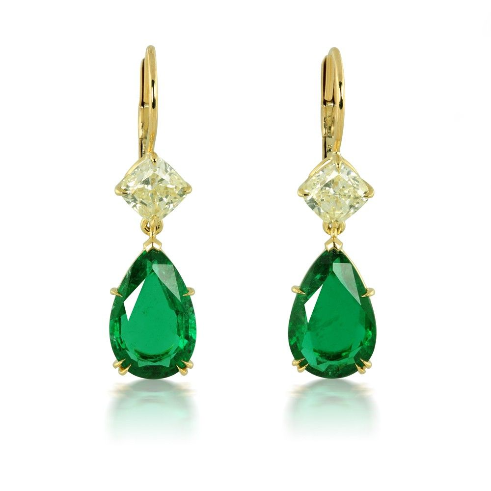 7.06 Carat Natural Emerald and Fancy Light Yellow Diamond Earrings in 18K Yellow Gold