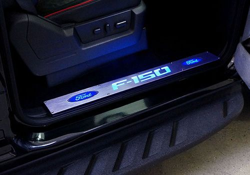 Ford Truck Accessory Recon Ford F 150 Billet Aluminum Door Sill Plates With Illuminated F 150 Logo Ford F150 Billet Aluminum Aluminium Doors