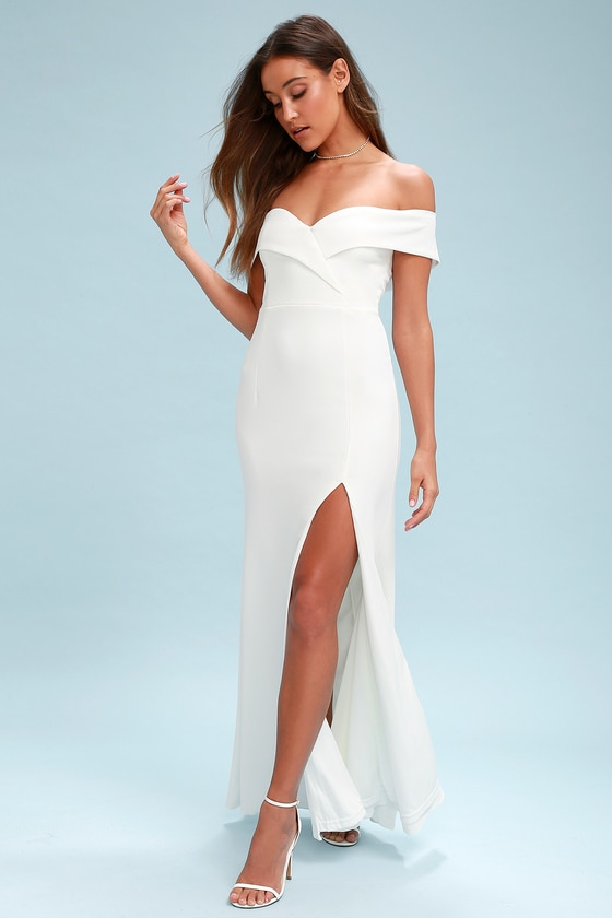 Song Of Love White Off The Shoulder Maxi Dress In 2020 White Dresses For Women Long White Dress Lace Maxi Dress
