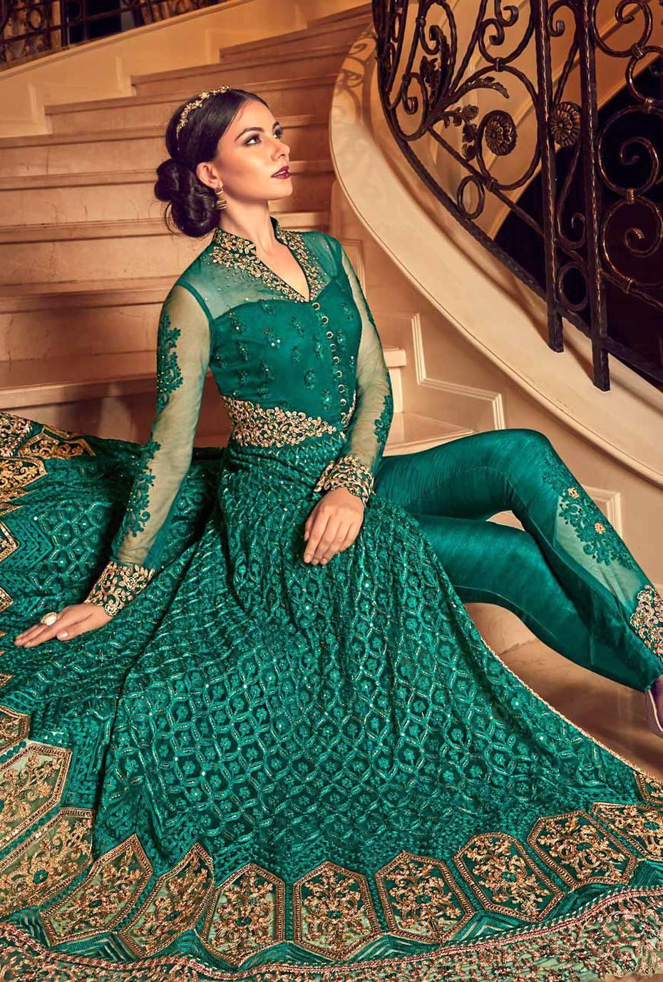 Buy Teal color gette wedding Lehenga and pant 2 in 1 style