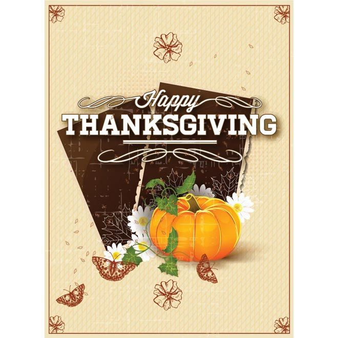 Description Free Vector Illustration Of Butterfly On Happy Thanksgiving Retro Card With Pumpkin Beautiful Frame Vintage Borders Poster