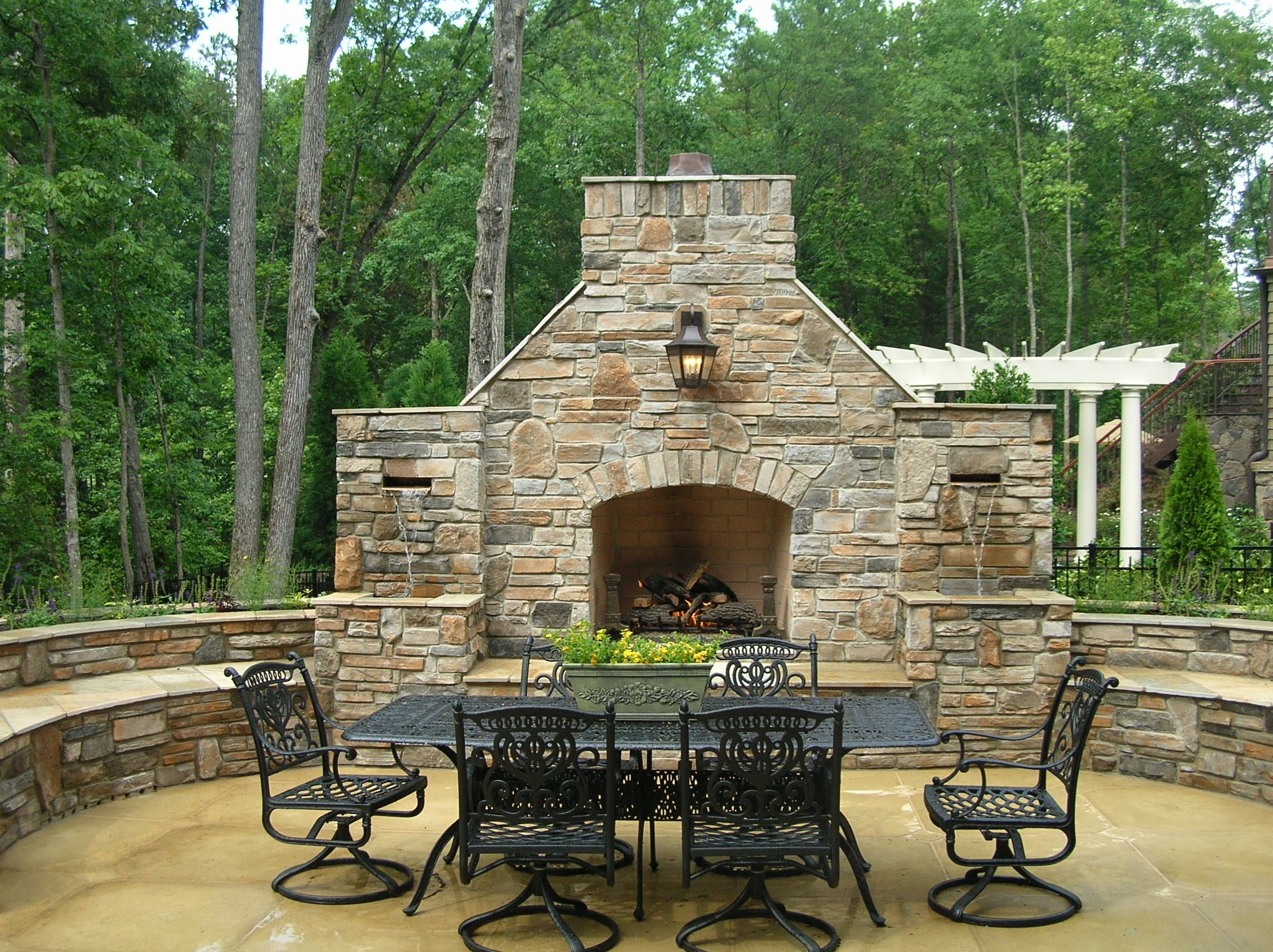 Bar Furniture, Outdoor Living Area Fireplace Seating Walls And Waterfalls