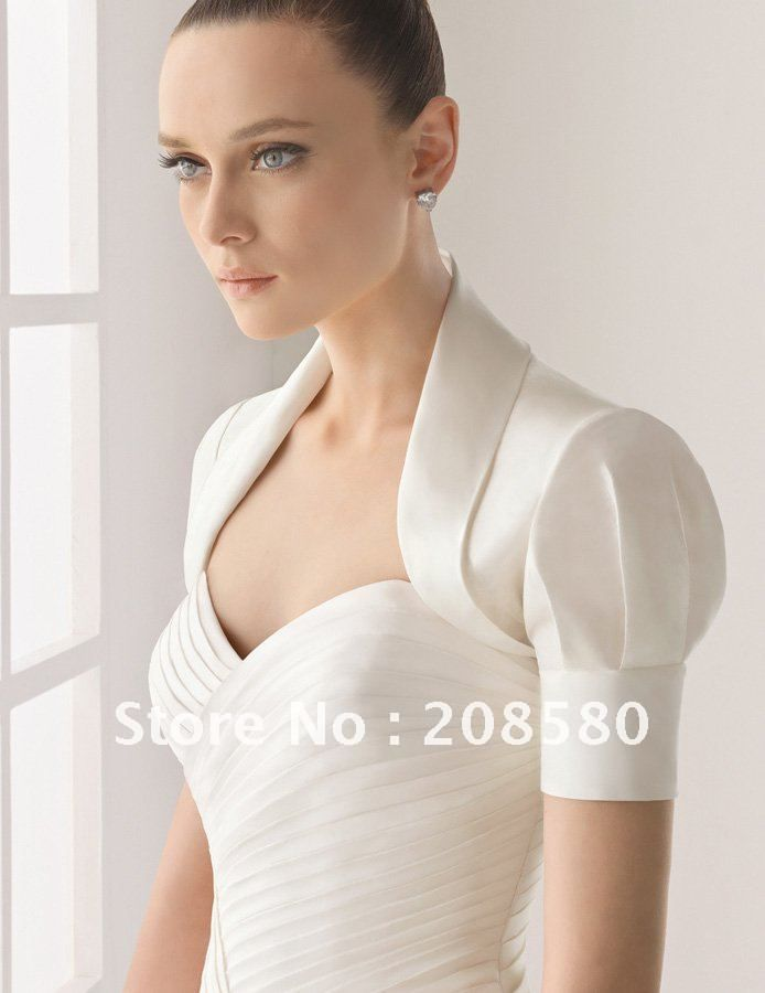 White short puff sleeve taffeta bridal wedding jackets for White bolero for wedding dress