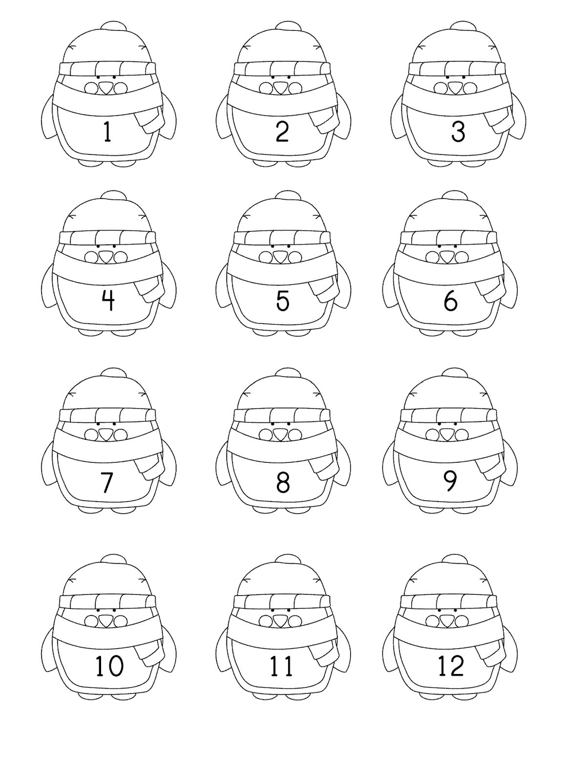 Penguin Numbers To 20 Number Order Counting Etc