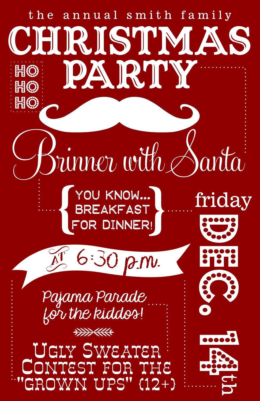 Brinner with Santa -- Customized Christmas Part Invitation. $12.00 ...