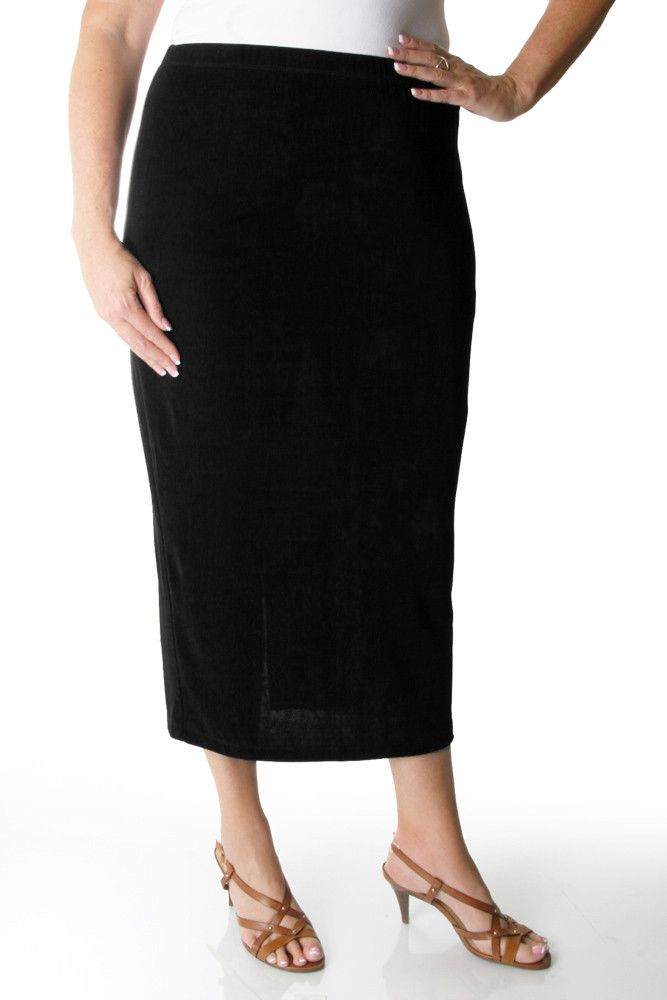 24a390ca32 Vikki Vi Classic Black Straight Maxi Skirt Ideal for Apple shaped women,  plus size workwear, office appropriate