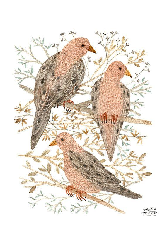 LARGE Mourning Doves Print woodland wall art bird por GollyBard ...