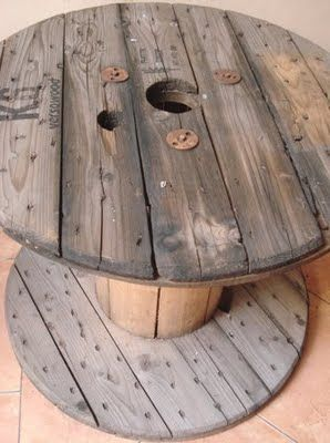 old cable spool like this was a table or one the farm we had a large spool and…